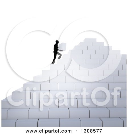 Clipart of a 3d Silhouetted Man Building His Own Staircase Pyramid with Blocks - Royalty Free Illustration by Mopic