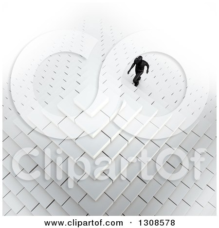 Clipart of a 3d Aerial View of a Silhouetted Business Man Climbing up Pyramid Steps, on White - Royalty Free Illustration by Mopic