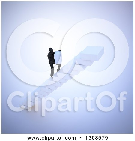 Clipart of a 3d Silhouetted Man Building His Own Staircase with Blocks - Royalty Free Illustration by Mopic