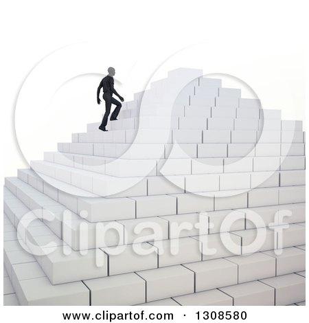 Clipart of a 3d Silhouetted Business Man Climbing up Pyramid Steps, on White - Royalty Free Illustration by Mopic
