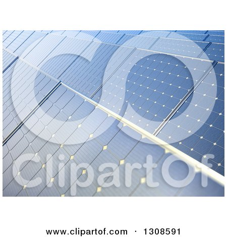 Clipart of a Background of 3d Blue Solar Power Photovoltaic Panels - Royalty Free Illustration by Mopic