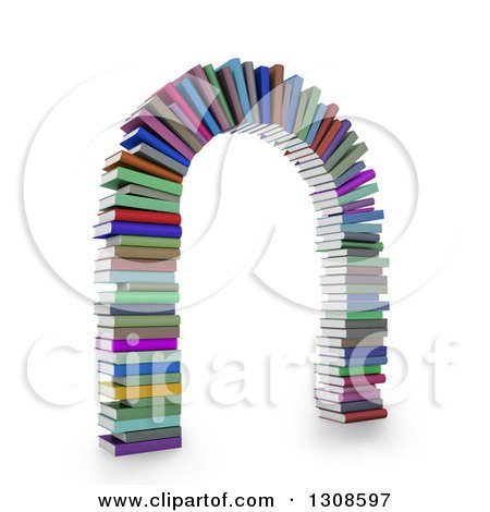 Clipart of a 3d Arch Made of Colorful Text Books, on White - Royalty Free Illustration by Mopic