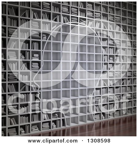 Clipart of a 3d Silhouetted Head with Empty Shelves on a Wall of Library Books - Royalty Free Illustration by Mopic