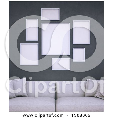Clipart of a 3d White Sofa Under Blank Frames on a Dark Wall - Royalty Free Illustration by Mopic