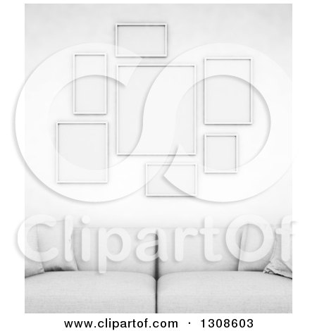 Clipart of a 3d White Sofa Under Blank Frames on a Wall - Royalty Free Illustration by Mopic