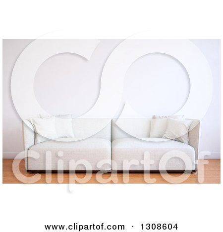 Clipart of a 3d White Sofa Against a Blank Wall on Wood Flooring - Royalty Free Illustration by Mopic