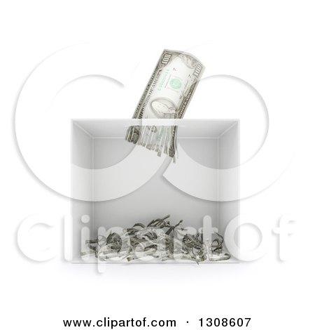 Clipart Of A 3d Shredder Shredding A Banknote On White Royalty Free Illustration