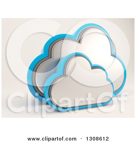 Clipart of a 3d Silver and Blue Cloud Drive Icon, on off White - Royalty Free Illustration by KJ Pargeter