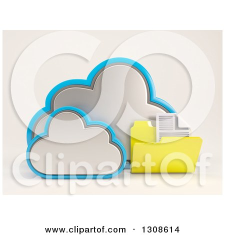 Clipart of a 3d Cloud Storage Icon with a Document Folder, on off White - Royalty Free Illustration by KJ Pargeter
