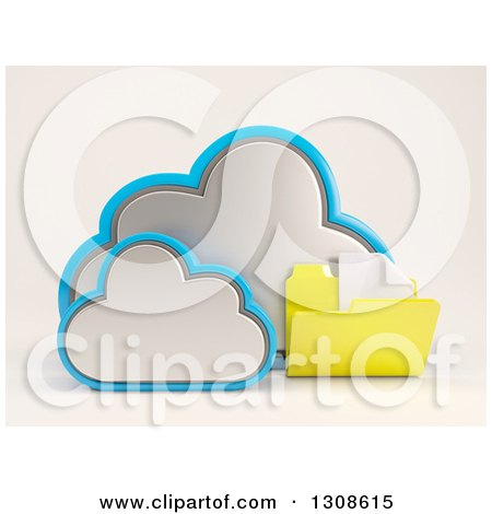 Clipart of a 3d Cloud Storage Icon with a Plain Document Folder, on off White - Royalty Free Illustration by KJ Pargeter