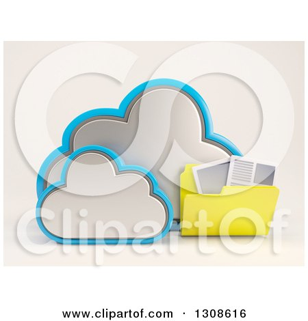 Clipart of a 3d Cloud Storage Icon with a Folder of Documents, on off White - Royalty Free Illustration by KJ Pargeter