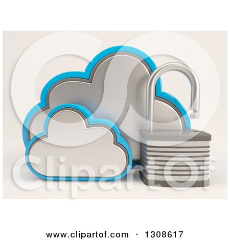Clipart of a 3d Cloud Storage Icon with an Open Padlock, on Shaded White - Royalty Free Illustration by KJ Pargeter