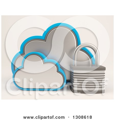 Clipart of a 3d Cloud Storage Icon with a Padlock, on Shaded White - Royalty Free Illustration by KJ Pargeter