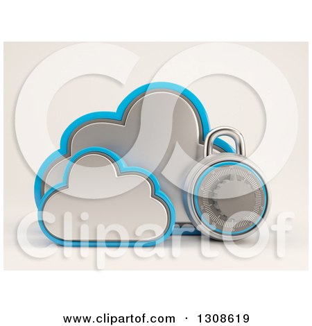 Clipart of a 3d Cloud Storage Icon with a Round Padlock, on Shaded White - Royalty Free Illustration by KJ Pargeter
