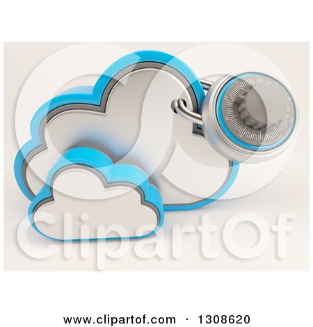 Clipart of a 3d Cloud Storage Icon with a Secured Round Padlock, on Shaded White - Royalty Free Illustration by KJ Pargeter