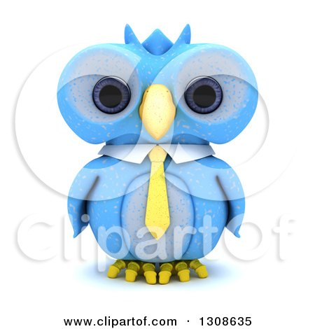 Clipart of a 3d Blue Owl Wearing a Business Tie, on White - Royalty Free Illustration by KJ Pargeter