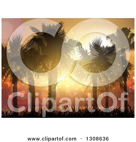 Clipart of a 3d Magical Tropical Sunset and Silhouetted Palm Trees on a Tropical Beach - Royalty Free Vector Illustration by KJ Pargeter