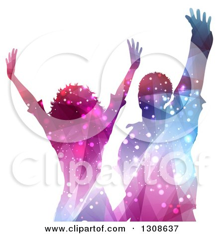 Clipart of a Colorful Sparkling Silhouetted Woman and Man Dancing on White - Royalty Free Vector Illustration by KJ Pargeter