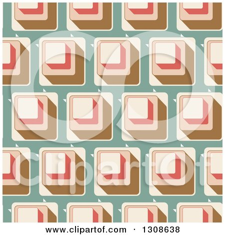 Clipart of a Seamless Background of Retro Cubes on Green - Royalty Free Vector Illustration by KJ Pargeter