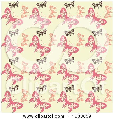 Clipart of a Seamless Background of a Retro Black and Pink Butterfly Pattern on Pastel Yellow - Royalty Free Vector Illustration by KJ Pargeter