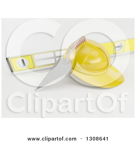 Clipart of a 3d Mason Trowel, Level, and Yellow Hard Hat on Shaded White - Royalty Free Illustration by KJ Pargeter