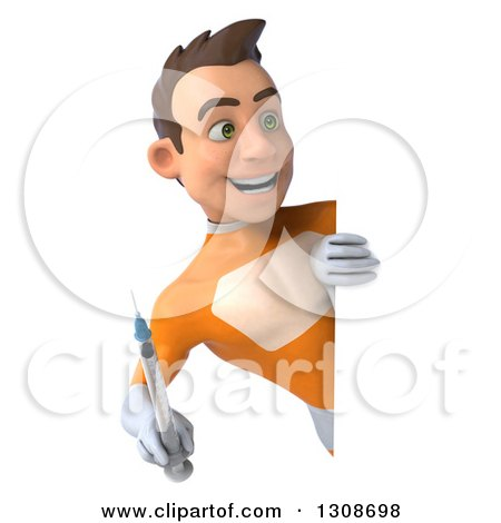 Clipart of a 3d Young Brunette White Male Super Hero in an Orange Suit, Holding a Giant Vaccine Syringe Around a Sign - Royalty Free Illustration by Julos