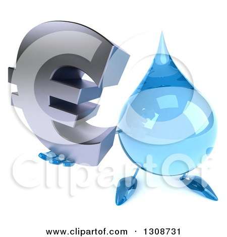 Clipart of a 3d Water Drop Character Holding up a Euro Symbol - Royalty Free Illustration by Julos