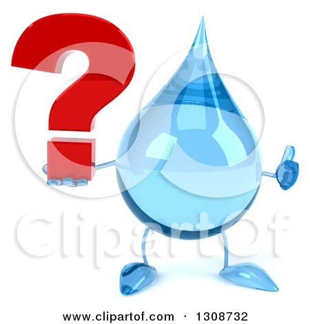 Clipart of a 3d Water Drop Character Giving a Thumb up and Holding a Question Mark - Royalty Free Illustration by Julos