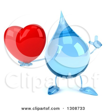 Clipart of a 3d Water Drop Character Holding up a Finger and a Red Love Heart - Royalty Free Illustration by Julos
