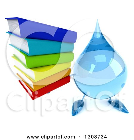 Clipart of a 3d Water Drop Character Holding up a Stack of Books - Royalty Free Illustration by Julos