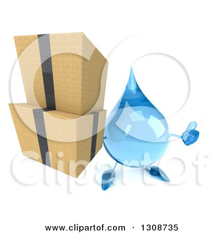 Clipart of a 3d Water Drop Character Holding up a Thumb and Boxes - Royalty Free Illustration by Julos
