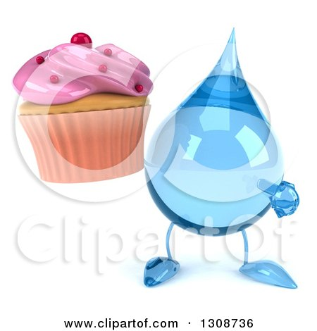 Clipart of a 3d Water Drop Character Holding and Pointing to a Pink Frosted Cupcake - Royalty Free Illustration by Julos