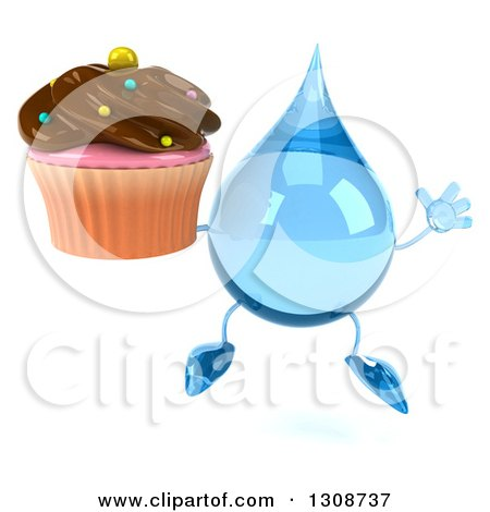 Clipart of a 3d Water Drop Character Jumping and Holding a Chocolate Frosted Cupcake - Royalty Free Illustration by Julos