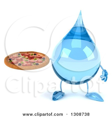 Clipart of a 3d Water Drop Character Holding a Pizza - Royalty Free Illustration by Julos