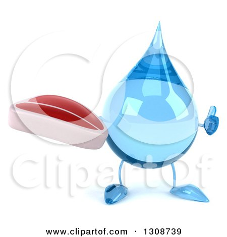 Clipart of a 3d Water Drop Character Giving a Thumb up and Holding a Beef Steak - Royalty Free Illustration by Julos