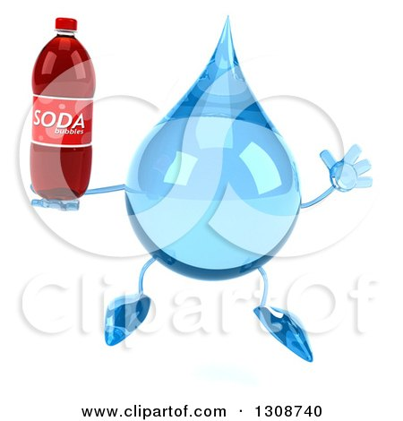 Clipart of a 3d Water Drop Character Jumping and Holding a Soda Bottle - Royalty Free Illustration by Julos