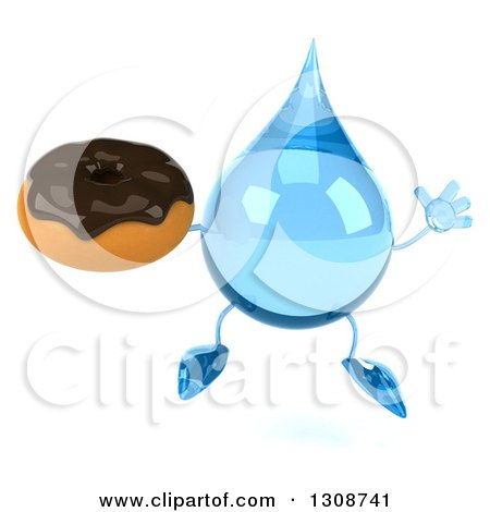 Clipart of a 3d Water Drop Character Jumping and Holding a Chocolate Frosted Donut - Royalty Free Illustration by Julos