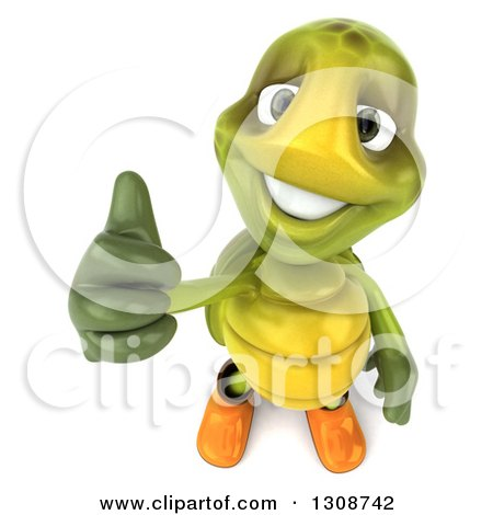 Clipart of a 3d Tortoise Turtle Gardener in Rubber Boots, Holding up a Thumb - Royalty Free Illustration by Julos
