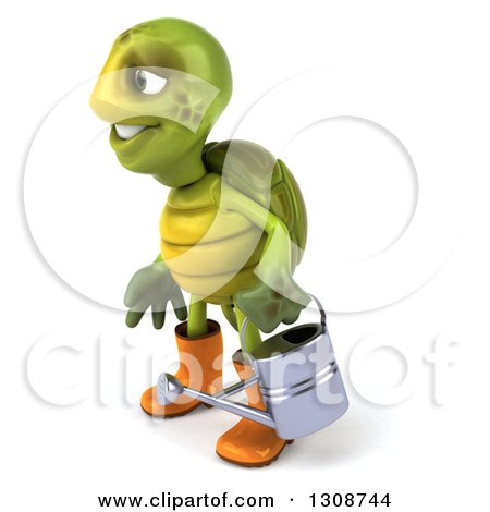 Clipart of a 3d Tortoise Turtle Gardener in Rubber Boots, Holding a Watering Can and Facing Left - Royalty Free Illustration by Julos