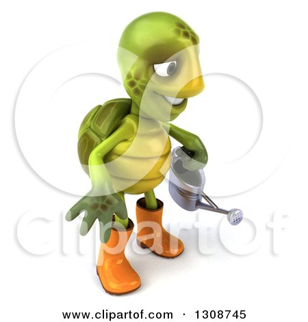 Clipart of a 3d Tortoise Turtle Gardener in Rubber Boots, Holding a Watering Can and Facing Right - Royalty Free Illustration by Julos