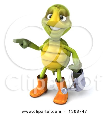 Clipart of a 3d Tortoise Turtle Gardener in Rubber Boots, Holding a Watering Can and Pointing to the Left - Royalty Free Illustration by Julos