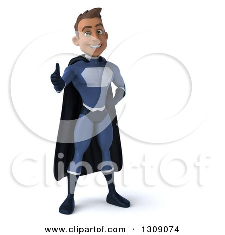 Clipart of a 3d Young Indian Male Super Hero Dark Blue Suit, Giving a Thumb up - Royalty Free Illustration by Julos