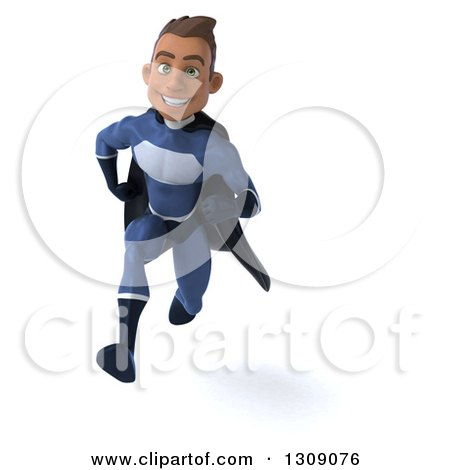 Clipart of a 3d Young Indian Male Super Hero Dark Blue Suit, Sprinting - Royalty Free Illustration by Julos