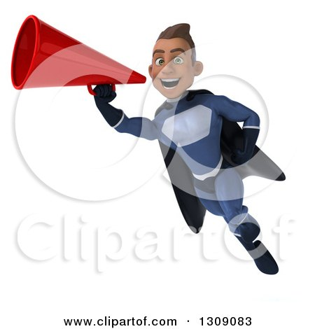 Clipart of a 3d Young Indian Male Super Hero Dark Blue Suit, Flying and Announcing with a Megaphone - Royalty Free Illustration by Julos