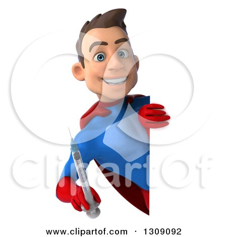 Clipart of a 3d Young Brunette White Male Super Hero in a Blue and Red Suit, Holding a Giant Vaccine Syringe Around a Sign - Royalty Free Illustration by Julos