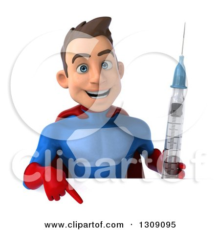 Clipart of a 3d Young Brunette White Male Super Hero in a Blue and Red Suit, Holding a Giant Vaccine Syringe and Pointing down over a Sign - Royalty Free Illustration by Julos