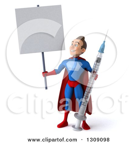 Clipart of a 3d Young Brunette White Male Super Hero in a Blue and Red Suit, Holding up and Looking at a Blank Sign and a Giant Vaccine Syringe - Royalty Free Illustration by Julos