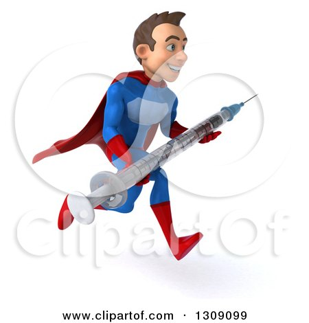 Clipart of a 3d Young Brunette White Male Super Hero in a Blue and Red Suit, Sprinting to the Right and Holding a Giant Vaccine Syringe - Royalty Free Illustration by Julos