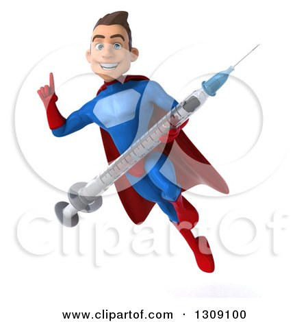 Clipart of a 3d Young Brunette White Male Super Hero in a Blue and Red Suit, Flying, Holding up a Finger and a Giant Vaccine Syringe - Royalty Free Illustration by Julos