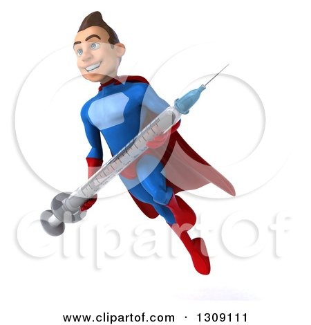 Clipart of a 3d Young Brunette White Male Super Hero in a Blue and Red Suit, Facing Slightly Let, Holding a Vaccine Syringe and Flying - Royalty Free Illustration by Julos
